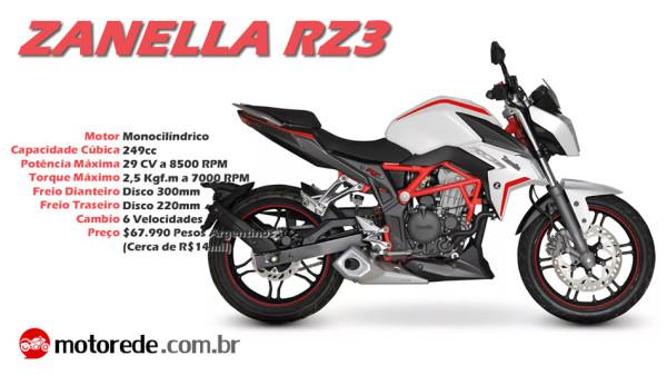 Nova Zanella RZ3 2017 Brasil Especificações Técnicas