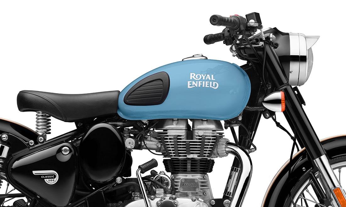 Royal Enfield Classic 500 Redditch Azul tanque combustível
