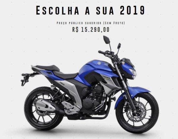 Nova Yamaha Fazer 250 2019 Azul Preço