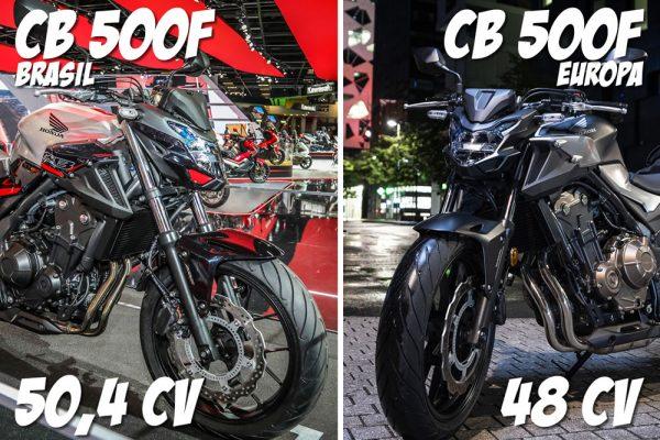 Nova CB 500F 2020 comparativo com 500f Europa